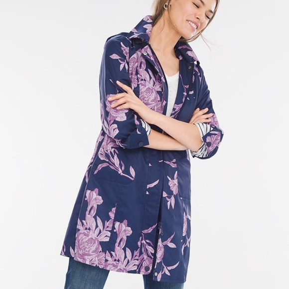 08b55e3b0d6bc Chico s Jackets   Blazers - Chico s Navy and Purple Floral ...